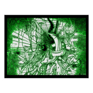 Dibujo enrrollado surrealista psicodélico del esti póster