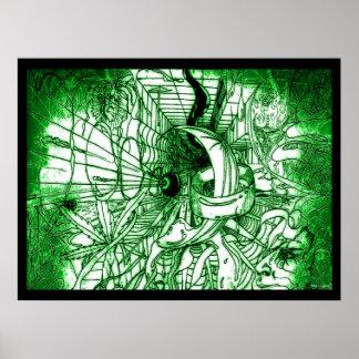 Dibujo enrrollado surrealista psicodélico del póster