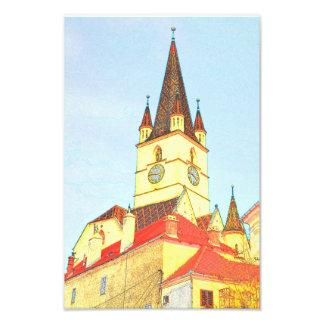 Dibujo evangélico de la torre de iglesia impresión fotográfica