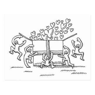 Dibujo feliz de la caja de regalo de la gente del  tarjetas postales