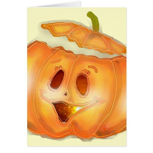 Dibujo feliz de la calabaza de Halloween Tarjetón
