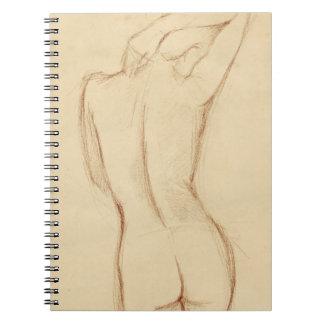 Dibujo femenino desnudo derecho cuaderno