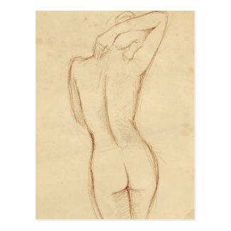 Dibujo femenino desnudo derecho postal