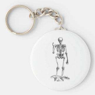 Dibujo frontal del vintage de un esqueleto que agi llavero redondo tipo pin