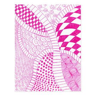 Dibujo fucsia rosado del Doodle del zen Tarjeta Postal