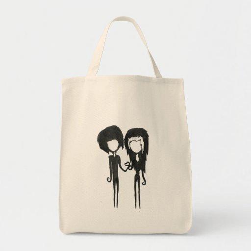 Dibujo gótico alternativo lindo del muchacho y del bolsa lienzo