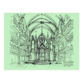 Dibujo gótico verde de Orensanz Postal