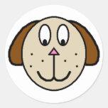 Dibujo grande del dibujo animado del perro de pegatinas redondas