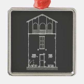 Dibujo gris y blanco de la casa minúscula de la adorno navideño cuadrado de metal