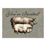 Dibujo guarro del vintage antiguo de los cerdos invitaciones personalizada
