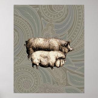 Dibujo guarro del vintage antiguo de los cerdos impresiones