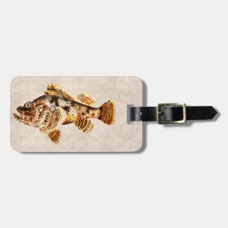 Dibujo hawaiano de la antigüedad de los pescados etiqueta de maleta
