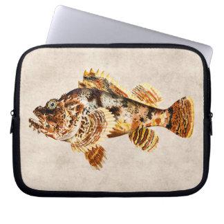 Dibujo hawaiano de la antigüedad de los pescados funda ordendadores