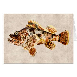 Dibujo hawaiano de la antigüedad de los pescados tarjeta pequeña