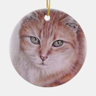 Dibujo hermoso del arte del gato de Tabby para los Adorno Navideño Redondo De Cerámica