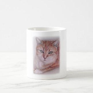 Dibujo hermoso del arte del gato de Tabby para los Taza Clásica