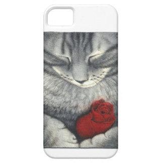DIBUJO HERMOSO DEL CAT DE TABBY QUE SOSTIENE EL iPhone 5 FUNDAS