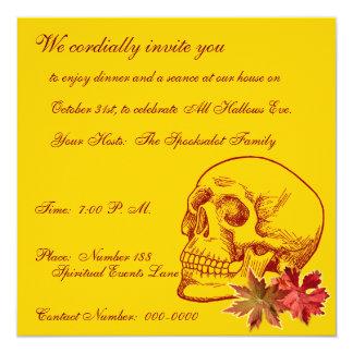 """Dibujo humano del cráneo con las hojas de Autmn Invitación 5.25"""" X 5.25"""""""