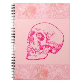 Dibujo humano del cráneo en fucsia libros de apuntes con espiral