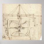 Dibujo industrial Leonardo da Vinci de la rueda vo Posters