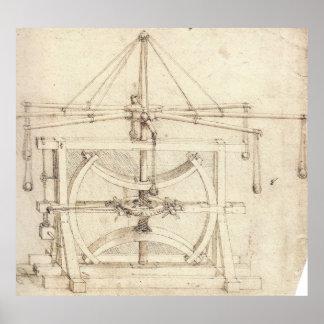 Dibujo industrial Leonardo da Vinci de la rueda vo Póster