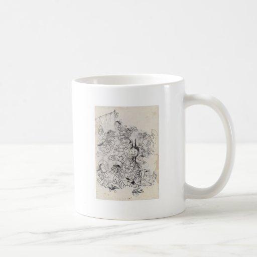 Dibujo japonés antiguo taza de café