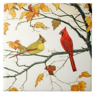 Dibujo japonés del vintage, cardenales en una rama tejas  ceramicas