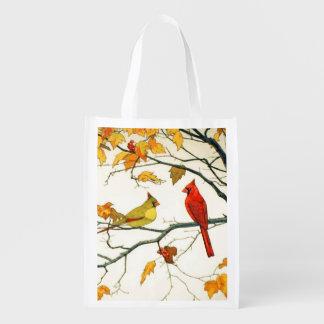 Dibujo japonés del vintage, cardenales en una rama bolsa reutilizable