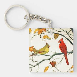 Dibujo japonés del vintage, cardenales en una rama llavero cuadrado acrílico a doble cara