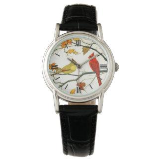 Dibujo japonés del vintage, cardenales en una rama relojes de mano