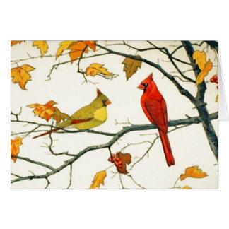 Dibujo japonés del vintage, cardenales en una rama tarjetas
