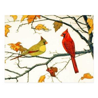 Dibujo japonés del vintage, cardenales en una rama tarjetas postales