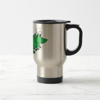 Dibujo lindo de la rana verde taza de viaje