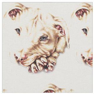 Dibujo lindo de Pitbull con las patas dobladas Telas
