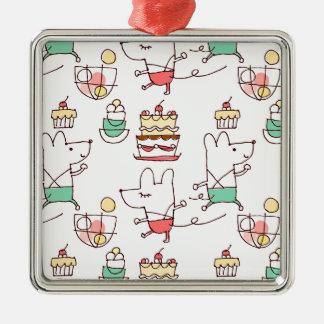 Dibujo lindo del cocinero de la panadería de los adorno navideño cuadrado de metal