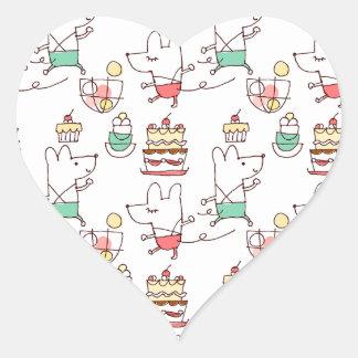 Dibujo lindo del cocinero de la panadería de los pegatina en forma de corazón