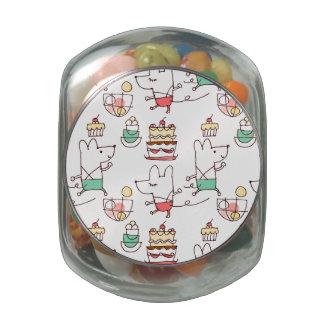 Dibujo lindo del cocinero de la panadería de los r jarrones de cristal