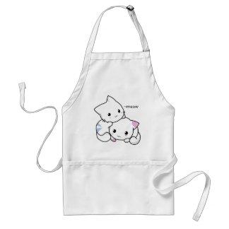 Dibujo lindo del gatito del muchacho y del chica delantal