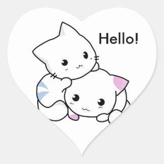 Dibujo lindo del gatito del muchacho y del chica calcomanías corazones