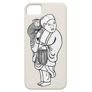Dibujo lindo del netsuke del instructor del mono iPhone 5 fundas
