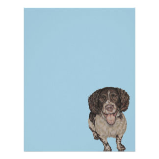 Dibujo lindo del perro de aguas feliz en papel con plantillas de membrete