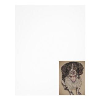 Dibujo lindo del perro de aguas feliz en papel con membretes personalizados