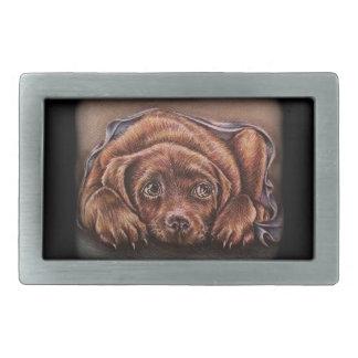 Dibujo lindo del perro de Brown Labrador en manta Hebillas Cinturon Rectangulares