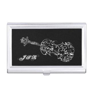 Dibujo lineal blanco del violín, iniciales caja de tarjetas de negocios