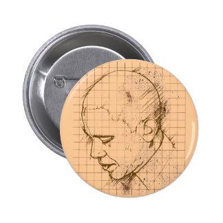 Dibujo lineal de Barack Obama Pin Redondo De 2 Pulgadas