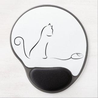 Dibujo lineal de gato con el ratón alfombrilla gel