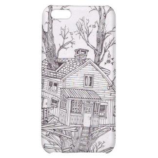 Dibujo lineal de la casa en el árbol