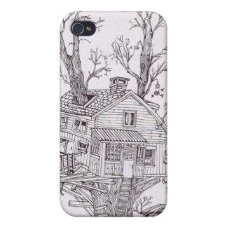 Dibujo lineal de la casa en el árbol iPhone 4 coberturas