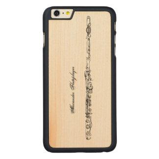 Dibujo lineal de la flauta, nombre adaptable funda de arce carved® para iPhone 6 plus