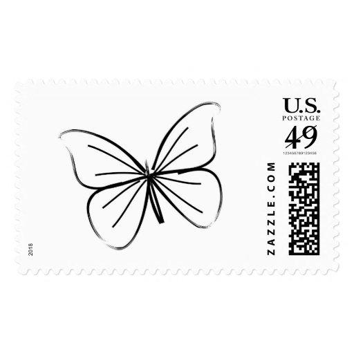Dibujo lineal de la mariposa sellos